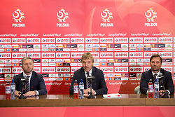 July 23, 2018 - Warsaw, Mazowsze, Poland - New coach of the Poland national football team Jerzy Brzeczek and President of the Polish Football Association Zbigniew Boniek during a press conference at National Stadium in Warsaw, Poland on 23 July 2018. Jerzy Brzeczek, a former captain of Poland's national team, has been chosen as the team's new coach after Adam Nawalka's contract was not extended following Poland's World Cup exit. (Credit Image: © Mateusz Wlodarczyk/NurPhoto via ZUMA Press)