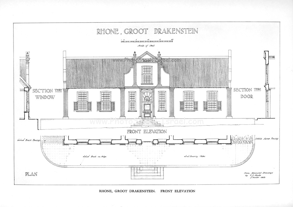 Rhone, Groot Drakenstein Front Elevation From the book ' Eighteenth century architecture in South Africa ' by Geoffrey Eastcott Pearse. Published by A.A. Balkema, Cape Town in 1933 G. E. Pearse was among the first to bring Cape architecture to a wide audience in a scholarly way. Eighteenth Century Architecture in South Africa was the result of many years research on the topic and remains an important reference work for the subject.