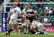 Barbarians lock Brad Thorn (Leicester & New Zealand) runs at England fly-half Danny Cipriani (Sale Sharks) during the International Rugby Union match England XV -V- Barbarians at Twickenham Stadium, London, Greater London, England on May  31  2015. (Steve Flynn/Image of Sport)
