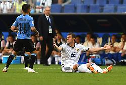 SAMARA, June 25, 2018  Artem Dzyuba (R) of Russia reacts during the 2018 FIFA World Cup Group A match between Uruguay and Russia in Samara, Russia, June 25, 2018. (Credit Image: © Du Yu/Xinhua via ZUMA Wire)