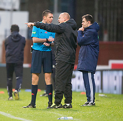 Ref Kevin Clancy and Dundee United's manager Mixu Paatelainen after dundee's second goal. <br /> Dundee 2 v 1  Dundee United, SPFL Ladbrokes Premiership game played 2/1/2016 at Dens Park.