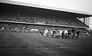 Irish scrum half JC Kelly, UCD, gets the ball away, ..Irish Rugby Football Union, Ireland v New Zealand, Tour Match, Landsdowne Road, Dublin, Ireland, Saturday 7th December, 1963,.7.12.1963, 12.7.1963,..Referee- H Keenen, Rugby Football Union, ..Score- Ireland 5 - 6 New Zealand, ..Irish Team, ..T J Kiernan, Wearing number 15 Irish jersey, Full Back, Cork Constitution Rugby Football Club, Cork, Ireland,..J Fortune, Wearing number 14 Irish jersey, Right Wing, Clontarf Rugby Football Club, Dublin, Ireland,..P J Casey, Wearing number 13 Irish jersey, Right Centre, University College Dublin Rugby Football Club, Dublin, Ireland, ..J C Walsh,  Wearing number 12 Irish jersey, Left Centre, University college Cork Football Club, Cork, Ireland,..A T A Duggan, Wearing number 11 Irish jersey, Left Wing, Landsdowne Rugby Football Club, Dublin, Ireland,..M A English, Wearing number 10 Irish jersey, Stand Off, Landsdowne Rugby Football Club, Dublin, Ireland, ..J C Kelly, Wearing number 9 Irish jersey, Captain of the Irish team, Scrum Half, University College Dublin Rugby Football Club, Dublin, Ireland,..P J Dwyer, Wearing number 1 Irish jersey, Forward, University College Dublin Rugby Football Club, Dublin, Ireland, ..A R Dawson, Wearing number 2 Irish jersey, Forward, Wanderers Rugby Football Club, Dublin, Ireland, ..R J McLoughlin, Wearing number 3 Irish jersey, Forward, Gosforth Rugby Football Club, Newcastle, England, ..W J McBride, Wearing number 4 Irish jersey, Forward, Ballymena Rugby Football Club, Antrim, Northern Ireland,..W A Mulcahy, Wearing number 5 Irish jersey, Forward, Bective Rangers Rugby Football Club, Dublin, Ireland,  ..E P McGuire, Wearing number 6 Irish jersey, Forward, University college Galway Football Club, Galway, Ireland,  ..P J A O' Sullivan, Wearing  Number 8 Irish jersey, Forward, Galwegians Rugby Football Club, Galway, Ireland,..N A Murphy, Wearing number 7 Irish jersey, Forward, Cork Constitution Rugby Football Club, Cork, Ireland,..New Zealand Team