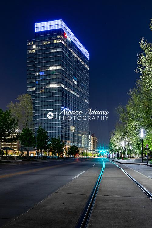 BOK Plaza at Night in downtown Oklahoma City on Thursday, April 9, 2020. Photo copyright © 2020 Alonzo J. Adams.
