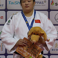 Bronze medalist Yanan Jiang of China celebrates her third place during an awards ceremony after the Women +78 kg category at the Judo Grand Prix Budapest 2018 international judo tournament held in Budapest, Hungary on Aug. 12, 2018. ATTILA VOLGYI