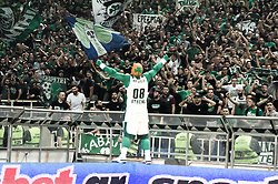 April 17, 2018 - Athens, Greece - Panathinaikos Superfoods Athens supporters react during the Turkish Airlines Euroleague Play Offs Game 1 between Panathinaikos Superfoods Athens v Real Madrid at OAKA arena..Final Score  (Credit Image: © Ioannis Alexopoulos/SOPA Images via ZUMA Wire)