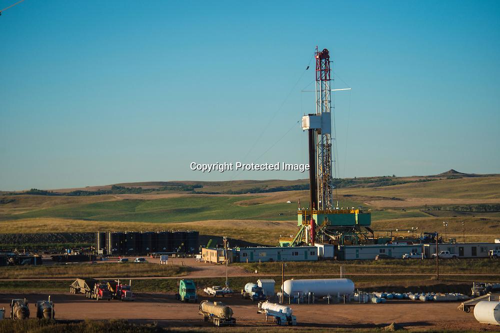 A oil rig drilling east of Watford City, North Dakota in the Bakken.