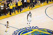 Golden State Warriors forward Draymond Green (23) celebrates a made three pointer against the Cleveland Cavaliers during Game 1 of the NBA Finals at Oracle Arena in Oakland, Calif., on May 31, 2018. (Stan Olszewski/Special to S.F. Examiner)