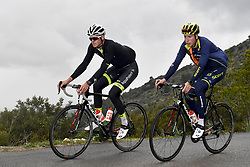 December 15, 2017 - Majorca, SPAIN - Belgian Lawrence Naesen of WB Veranclassic Aqua Protect and Belgian Jens Keukeleire of Orica Scott pictured in action during a press day during Lotto-Soudal cycling team stage in Mallorca, Spain, ahead of the new cycling season, Friday 15 December 2017. BELGA PHOTO DIRK WAEM (Credit Image: © Dirk Waem/Belga via ZUMA Press)