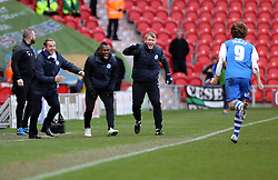 Peterborough United Manager, Dave Robertson and coaches Aaron Mclean and Grant McCann rush to congratulate goalscorer Luke James - Photo mandatory by-line: Joe Dent/JMP - Mobile: 07966 386802 - 14/03/2015 - SPORT - Football - Doncaster - Keepmoat Stadium - Doncaster Rovers v Peterborough United - Sky Bet League One