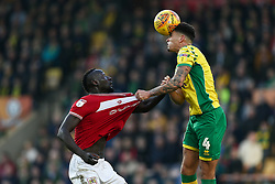 Famara Diedhiou of Bristol City tussles for the ball with Ben Godfrey of Norwich City - Mandatory by-line: Arron Gent/JMP - 23/02/2019 - FOOTBALL - Carrow Road - Norwich, England - Norwich City v Bristol City - Sky Bet Championship
