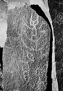 """9305-B3499-4. """"Winquatt Museum, The Dalles. April 2, 1974."""" Indian rock art (petroglyphs) removed from the Celilo - Wishram area before being submerged under the backwater of the The Dalles Dam in 1957. These were photographed in 1974 while at the Winquatt Museum in The Dalles. The rock art is now located on Temani Pesh-wa Trail in Columbia Hills State Park (formerly Horsethief Lake State Park), on the Washington side of the Columbia River Gorge near The Dalles."""