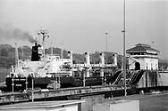 Ship passing through Miraflores Locks at the Panama Canal.