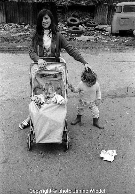 Gypsy campsite in East London UK 1973