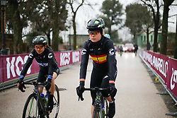 Sheyla Gutierrez Ruiz & Omer Shapira make their way to sign on at Strade Bianche - Elite Women 2018 - a 136 km road race on March 3, 2018, starting and finishing in Siena, Italy. (Photo by Thomas Maheux/Velofocus.com)
