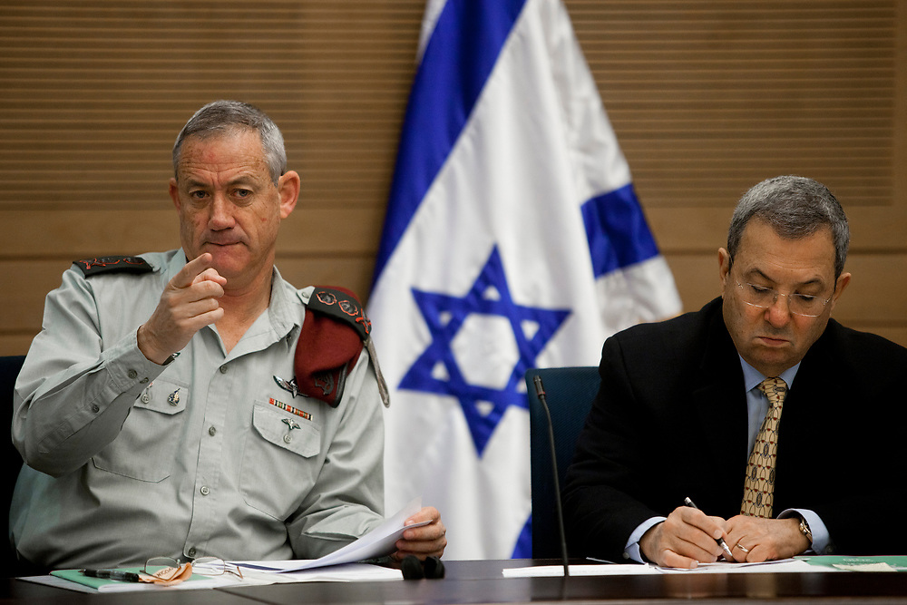 Israel's Defense Minister Ehud Barak (R) and Israeli Chief of Staff, Lieutenant-General Benny Gantz (L) are seen during a session of the State Control Committee at the Knesset, Israel's parliament in Jerusalem, on January 22, 2012.