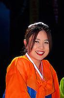 "Korean woman wearing traditional ""Hanbok"" costume, Tongdosa Temple, north of Pusan, South Korea"