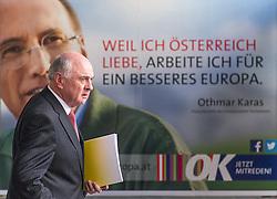 14.03.2014, OeVP Bundespartei, Wien, AUT, OeVP, Vorstandssitzung der OeVP Bundespartei. im Bild Landeshauptmann Niederoesterreich Erwin Proell (OeVP), im Hintergrund Othmar Karas EU Wahlkampf Plakat // Governor of Lower Austria Erwin Proell (OeVP) before board meeting of OeVP at federal party of OeVP in Vienna, Austria on 2014/03/14. EXPA Pictures © 2014, PhotoCredit: EXPA/ Michael Gruber
