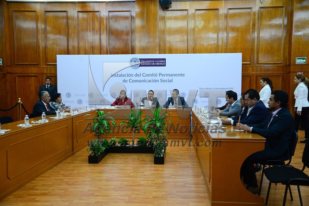 Toluca, Méx.- Diputados integrantes de la LIX Legislatura local durante la instalación del Comité de Comunicación Social. Agencia MVT / Crisanta Espinosa
