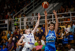 Rogkavopoulos  Nikolaos of Greece vs Malovcic  Alen of Slovenia during basketball match between National teams of Greece and Slovenia in the Group Phase C of FIBA U18 European Championship 2019, on July 29, 2019 in  Nea Ionia Hall, Volos, Greece. Photo by Vid Ponikvar / Sportida