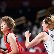 TOKYO, JAPAN August 8:   Maki Takada #8 of Japan defended by Breanna Stewart #10 of the United States during the Japan V USA basketball final for women at the Saitama Super Arena during the Tokyo 2020 Summer Olympic Games on August 8, 2021 in Tokyo, Japan. (Photo by Tim Clayton/Corbis via Getty Images)