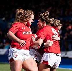 Jess Kavanagh of Wales celebrates scoring her sides first try<br /> <br /> Photographer Simon King/Replay Images<br /> <br /> Six Nations Round 5 - Wales Women v Ireland Women- Sunday 17th March 2019 - Cardiff Arms Park - Cardiff<br /> <br /> World Copyright © Replay Images . All rights reserved. info@replayimages.co.uk - http://replayimages.co.uk