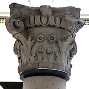 Elegant stone capital, detail from the top of a column. Circa 1500. Probably from a Venetian courtyard. Has an 'ovolo' moulding decorated with repeating egg shapes. Approved by Renaissance architect Alberti as one of seven designs for classical mouldings.