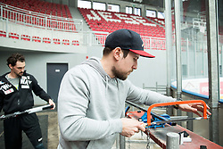 Klemen Pretnar and Mitja Robar during first meeting of Slovenian Ice Hockey National Team for IIHF World Championships Ostrava 2015, on April 5, 2015 in Arena Podmezakla, Jesenice, Slovenia. Photo by Vid Ponikvar / Sportida