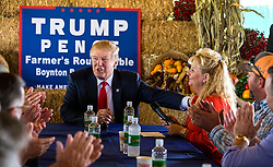 October 24, 2016 - Florida, U.S. - Donald Trump thanks Marie Bedner for her introduction at a farmer's roundtable event at Bedner Farms west of Boynton Beach Monday, October 24, 2016. (Credit Image: © Lannis Waters/The Palm Beach Post via ZUMA Wire)