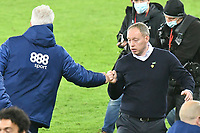 Football - 2020 / 2021 Sky Bet Championship - Swansea City vs Cardiff City - Liberty Stadium<br /> <br /> Cardiff City manager Mick McCarthy & Swansea Manager Steve Cooper  fist bump after the final whistlein the South Wales local derby match<br /> <br /> COLORSPORT/WINSTON BYNORTH
