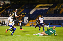 Joe Dodoo of Leicester City scores his sides third goal - Mandatory byline: Matt McNulty/JMP - 07966386802 - 25/08/2015 - FOOTBALL - Gigg Lane -Bury,England - Bury v Leicester City - Capital One Cup - Second Round