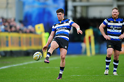 Adam Hastings of Bath Rugby kicks for territory - Mandatory byline: Patrick Khachfe/JMP - 07966 386802 - 04/03/2017 - RUGBY UNION - The Recreation Ground - Bath, England - Bath Rugby v Wasps - Aviva Premiership.