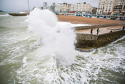 © Licensed to London News Pictures. 07/10/2017. Brighton, UK. Powerful waves are hitting the pontoon next to the Brighton Palace Pier in Brighton and Hove. Photo credit: Hugo Michiels/LNP