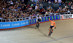 Harrie Lavreysen of Netherlands celebrates winning against Matthew Glaetzer of Australia during the Men's Sprint Finals during day three of the Tissot UCI Track Cycling World Cup at Lee Valley VeloPark, London.