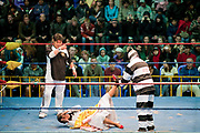 Male wrestler pinning female wrestler on floor with referee counting. Lucha Libre wrestling origniated in Mexico, but is popular in other latin Amercian countries, including in La Paz / El Alto, Bolivia. Male and female fighters participate in the theatrical staged fights to an adoring crowd of locals and foreigners alike.