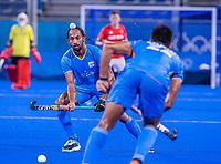 TOKIO - Hardik Singh (Ind)   tijdens de hockeywedstrijd in de kwartfinale , India-Groot Brittannië ,   tijdens de Olympische Spelen van Tokio 2020.  COPYRIGHT KOEN SUYK