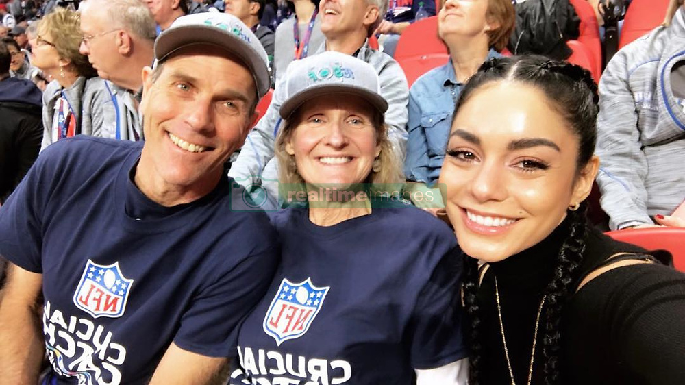 """Vanessa Hudgens releases a photo on Instagram with the following caption: """"With my winners at the SUPERBOWL! Thanks to @americancancersociety and to everyone who entered!!! \u2764\ufe0f\u2764\ufe0f #crucialcatch #nfl"""". Photo Credit: Instagram *** No USA Distribution *** For Editorial Use Only *** Not to be Published in Books or Photo Books ***  Please note: Fees charged by the agency are for the agency's services only, and do not, nor are they intended to, convey to the user any ownership of Copyright or License in the material. The agency does not claim any ownership including but not limited to Copyright or License in the attached material. By publishing this material you expressly agree to indemnify and to hold the agency and its directors, shareholders and employees harmless from any loss, claims, damages, demands, expenses (including legal fees), or any causes of action or allegation against the agency arising out of or connected in any way with publication of the material."""