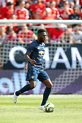 July 28, 2018 - Ann Arbor, Michigan, United States - Timothy Fosu-Mensah (4) of Manchester United passes the ball as Manchester United goaltender Lee Grant looks on during an International Champions Cup match between Manchester United and Liverpool at Michigan Stadium in Ann Arbor, Michigan USA, on Wednesday, July 28,  2018. (Credit Image: © Amy Lemus/NurPhoto via ZUMA Press)
