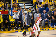 Golden State Warriors forward Kevin Durant (35) watches hit shot against the Houston Rockets during Game 4 of the Western Conference Finals at Oracle Arena in Oakland, Calif., on May 22, 2018. (Stan Olszewski/Special to S.F. Examiner)