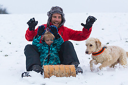 Adam, 45 and his son John together with their dog Tessa play with their sled as people and their pets enjoy the three inches of snow on Hampstead Heath in North London. Hampstead, London, February 01 2019.