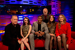 (left to right) Tom Hanks, Maisie Williams, Anthony Joshua, Host Graham Norton and First Aid Kit during filming of the Graham Norton Show at The London Studios, to be aired on BBC One on Friday.