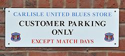 A general view of signage at Brunton Park, home of Carlisle United