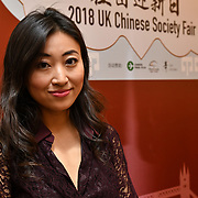 Lang Xiao is a Chinese Presenter at the 2018 UK Chinese Society Fair with variety of stores from Chinese culture,Chinese Theatre, Learning Chinese and Chinese Tea party at China Exchange, London, UK. 29 September 2018.