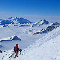 Vern Tejas (MR) nears the  summit of Mount Vaughan in the Trans-Antarctic Mountains, Antarctica.