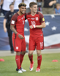June 8, 2017 - Commerce City, Colorado, United States - Commerce City, CO - Thursday June 08, 2017: DeAndre Yedlin and Christian Pulisic celebrate a goal during their 2018 FIFA World Cup Qualifying Final Round match versus Trinidad & Tobago at Dick's Sporting Goods Park. (Credit Image: © John Todd/ISIPhotos via ZUMA Wire)