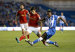Kazenga LuaLua  ( R ) of Brighton & Hove Albion scores the opening goal to make it 1-0 - Mandatory byline: Paul Terry/JMP - 07966386802 - 07/08/2015 - FOOTBALL - Falmer Stadium -Brighton,England - Brighton v Nottingham Forest - Sky Bet Championship