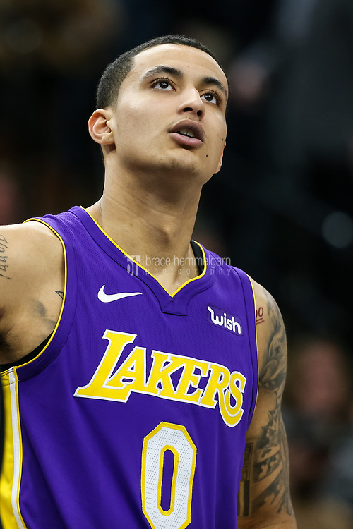 Feb 15, 2018; Minneapolis, MN, USA; Los Angeles Lakers forward Kyle Kuzma (0) during a game between the Minnesota Timberwolves and Los Angeles Lakers at Target Center. Mandatory Credit: Brace Hemmelgarn-USA TODAY Sports