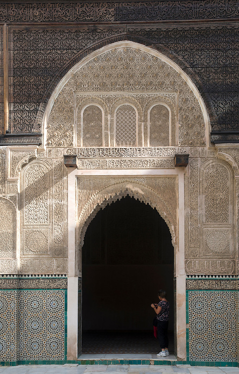 Bou Inania medersa, detail of the building Fes Morocco