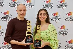 Jordan Brookes, winner of best comedy show, and Catherine Cohen, best newcomer, at the Edinburgh Comedy Awards 2019. pic Terry Murden @edinburghelitemedia