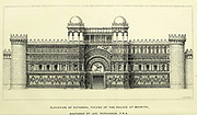 Elevation of External Facade, of the Persian Palace of Mashita From the book ' Land of Moab : travels and discoveries on the east side of the Dead Sea and the Jordan ' by Tristram, H. B. (Henry Baker), 1822-1906 Published in London in 1873 by  J. Murray