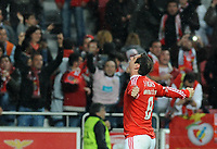 20120331: LISBON, PORTUGAL – Portuguese Liga Zon Sagres 2011/2012 - SL Benfica vs CS Braga.<br />In picture: Benfica's Bruno Cesar, from Brazil, celebrates after scoring the 2nd goal.<br />PHOTO: Alvaro Isidoro/CITYFILES